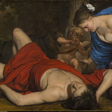 Venus and Amor Mourning the Death of Adonis